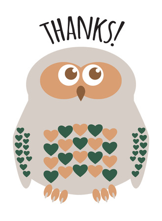 Owl cute character with hearts for feathers greeting card with text  Thanks!. Editable labelled layers. Illustration