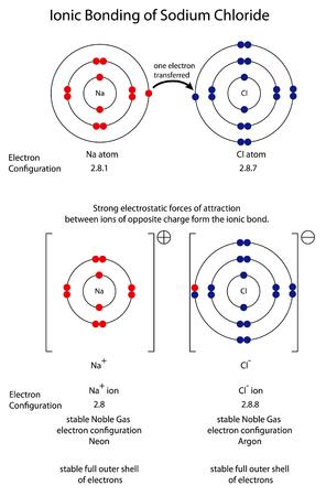Diagram to show ionic bonding in sodium chloride Stock Illustratie