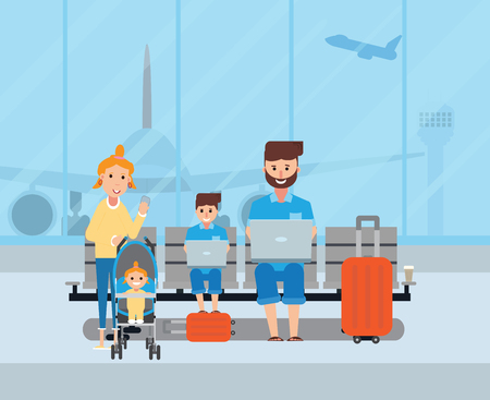Happy parents traveling with their children at the airport. Banco de Imagens - 102902373