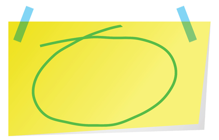 Sticky note with green  hand drawn circle  to highlight text.