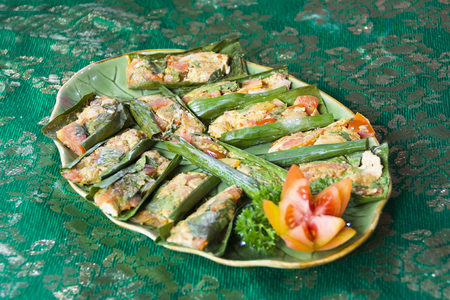 Steamed Fish in Banana Leaves Balinese, Thai or Indonesian Style Stock Photo