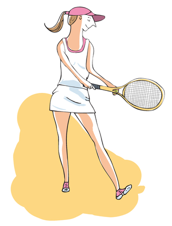 Hand drawn vector of female tennis player about to serve. Editable layers. Banco de Imagens - 112909744