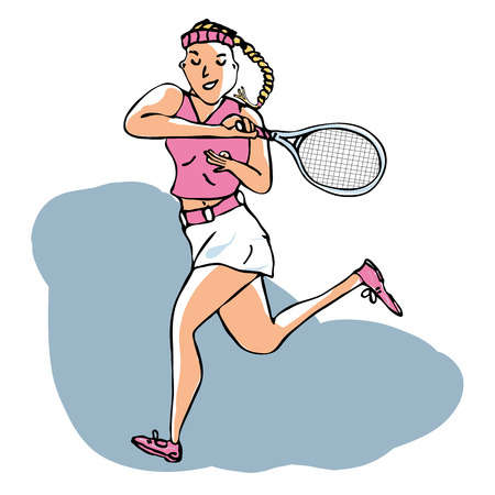 Hand drawn vector of female tennis player playing a volley stroke. Editable layers.