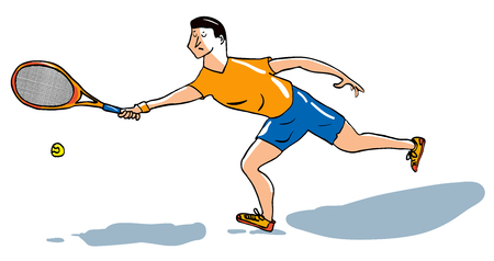 Illustration of male tennis player performing a forehand stroke. EPS editable layers.