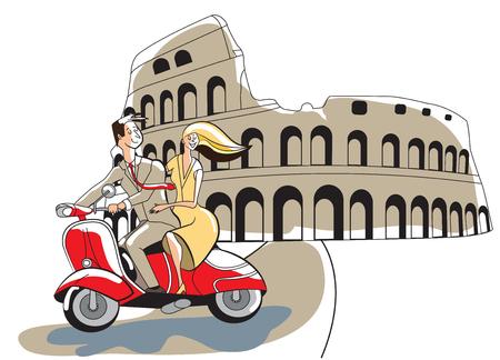 Young retro syled couple on motor scooter Colosseum Rome Ilustração Vetorial