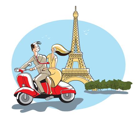 Young retro syled couple on motor scooter Eiffel Tower, Paris, France Ilustração