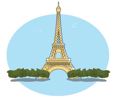 Eiffel Tower, Paris, France. Illustration with blue sky and trees EPS10