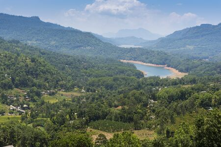 Sri Lanka, view of Nuwara Eliya from Glen Loch tea plantation over the valley. Stock fotó