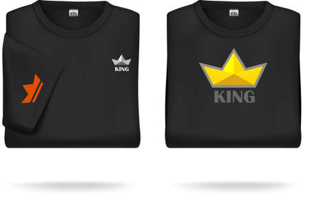 Black short sleeved T-shirt, folded - with sample design  can be easily removed