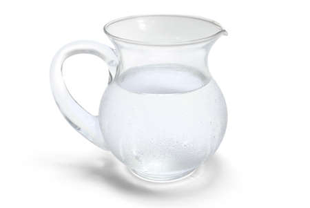 jugs: Fragile and transparent glass jar with ice water