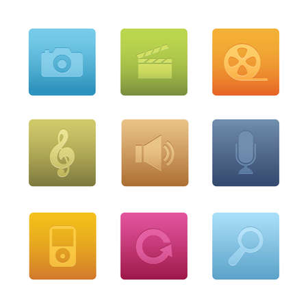 Square Multimedia Icons