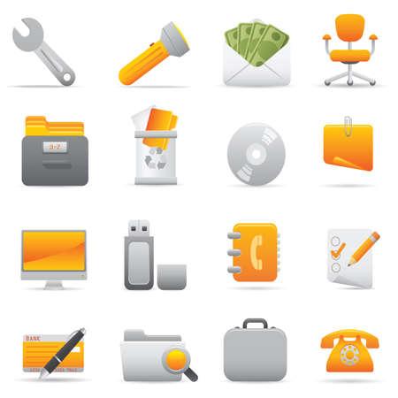 Ikony pakietu Office | 11 Żółte ikony zawodowych dla witryny sieci Web, aplikacji lub prezentacji  Ilustracje wektorowe