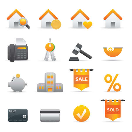 Real State Icons | Yellow 12 Professional icons for your website, application, or presentation Illustration