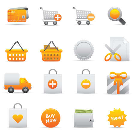 Shopping Icons | Yellow 13 Professional icons for your website, application, or presentation Illustration