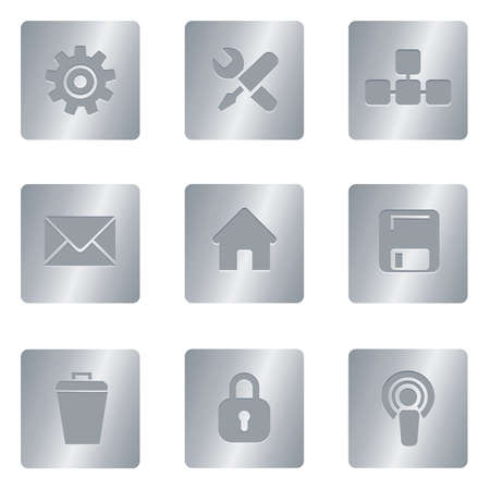 Professional set for your website, application, or presentation Computer Icons | Silver Square 02 Illustration