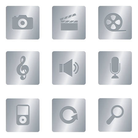 Professional set for your website, application, or presentation Multimedia Icons | Silver Square 03 Illustration