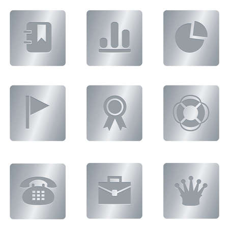 Professional set for your website, application, or presentation Office Icons | Silver Square 04 Illustration