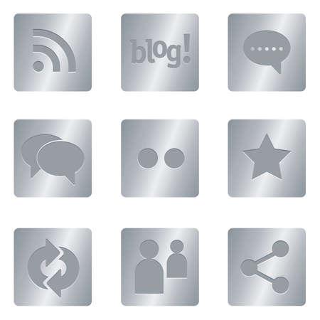 Professional set for your website, application, or presentation Social Media Icons | Silver Square 05 Illustration