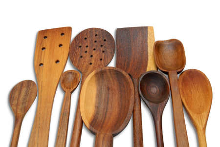29 Wooden Spoons A group of handcrafted wooden spoons for cooking Stock Photo