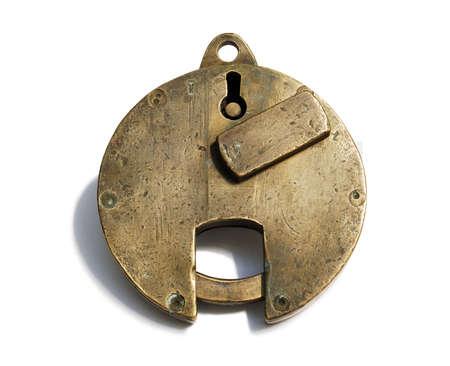 36 Padlock  Antique bronze padlock loop on white background Stock Photo