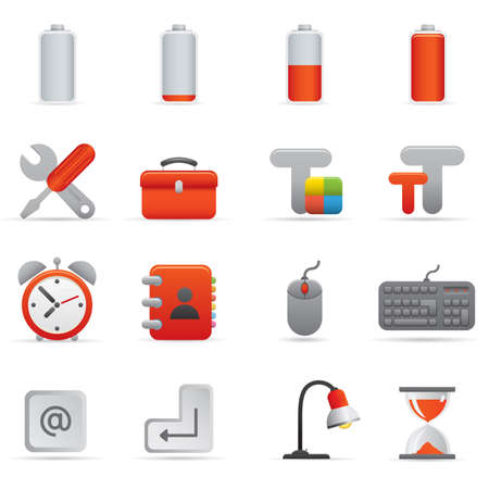 01 Computer Icons | Red professional set for your website, application, or presentation Illustration