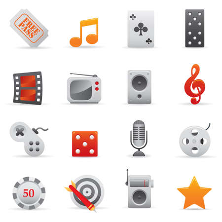 03 Entertainment Icons | Red professional set for your website, application, or presentation Stock Vector - 7808870