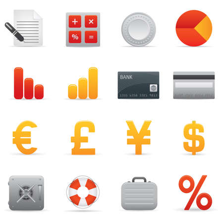 04 Finance Icons | Red professional icons for your website, application, or presentation Stock Vector - 7808862