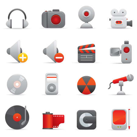 08 Multimedia Icons | Red professional icons for your website, application, or presentation Stock Vector - 7808872