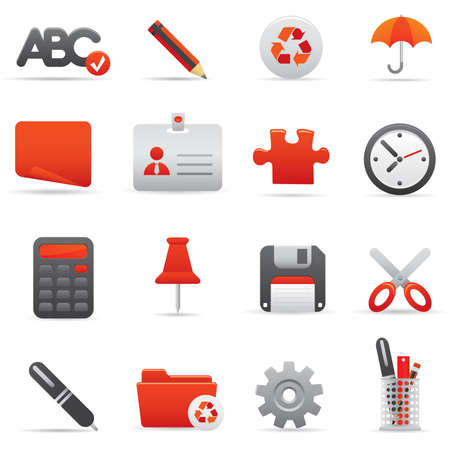 09 Office Icons | Red professional icons for your website, application, or presentation