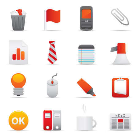 10 Office Icons | Red professional icons for your website, application, or presentation Stock Vector - 7808861