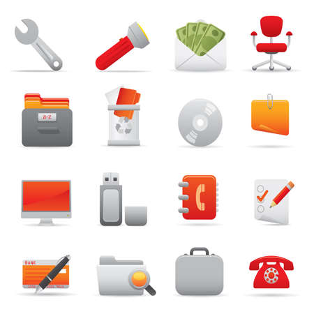 11 Office Icons | Red professional icons for your website, application, or presentation Illustration
