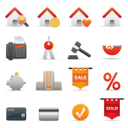 12 Real State Icons | Red professional icons for your website, application, or presentation Vector Illustration