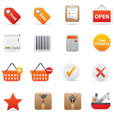 14 Shopping Icons | Red professional icons for your website, application, or presentation Illustration