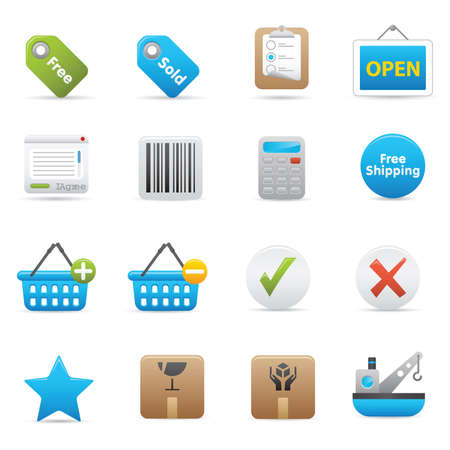 14 Shopping Icons | Indigo  professional icons for your website, application, or presentation Stock Vector - 7808866