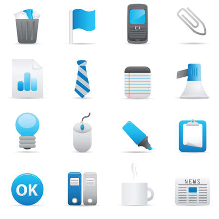 10 Office Icons | Indigo  professional icons for your website, application, or presentation Illustration