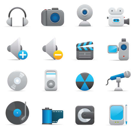 08 Multimedia Icons | Indigo professional icons for your website, application, or presentation Stock Vector - 7808873