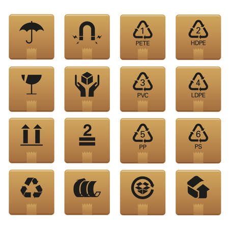 01 Packaging Icons   Professional  set for your website, application, or presentation. The graphics can easily be edited colored individually and be scaled to any size Illustration