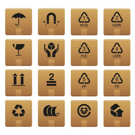 carton: 01 Verpakking pictogrammen Professional set voor uw website, applicatie of presentatie. De graphics kan gemakkelijk worden bewerkt gekleurd individueel en worden geschaald naar elke grootte  Stock Illustratie