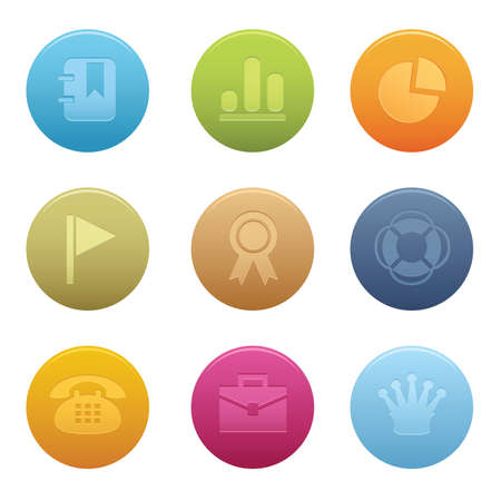 04 Circle Office Icons   Professional  set for your website, application, or presentation. The graphics can easily be edited colored individually and be scaled to any size Illustration