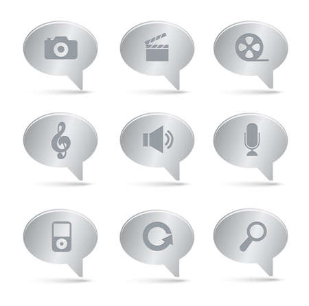 03 Silver Bubbles Multimedia Icons    Professional  set for your website, application, or presentation. The graphics can easily be edited colored individually and be scaled to any size