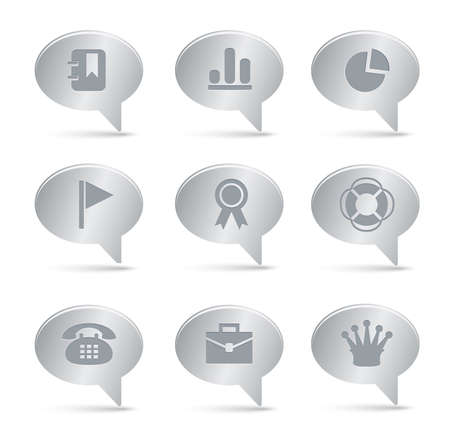 04 Silver Bubbles Office Icons    Professional set for your website, application, or presentation. The graphics can easily be edited colored individually and be scaled to any size