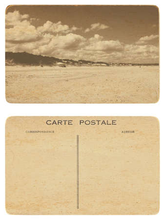 12 Old Postcard     Front and back of old postcard with picture of a beach