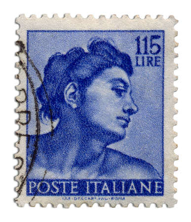 01 Postage Stamp     Antique Italy postage stamp in blue color Stock Photo