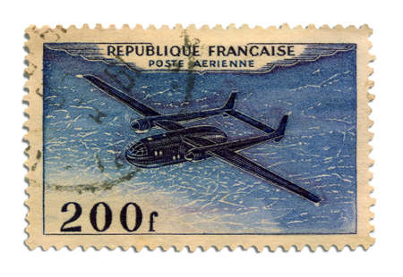 02 Postage Stamp     Antique French postage stamp with an airplane illustration