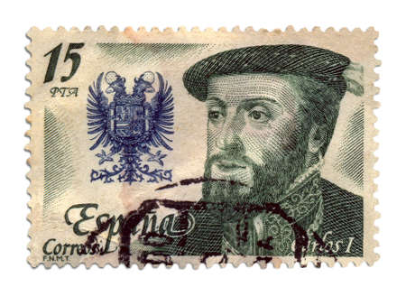 03 Postage Stamp      Antique Spain postage stamp with a illustration of Carlos I