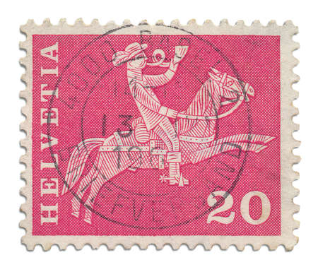 04 Postage Stamp     Antique Swiss postage stamp in light red Stock Photo