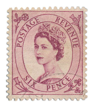 05 Postage Stamp     Antique United Kingdom postage stamp in pink Stock Photo