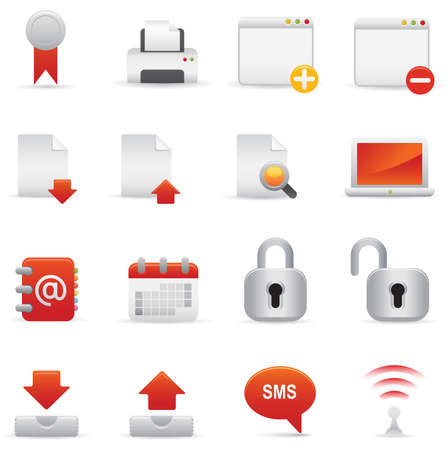 06 Red Internet Icons    Professional   set for your website, application, or presentation. The graphics can easily be edited colored individually and be scaled to any size