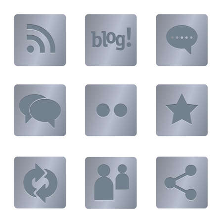 05 Steel Square Social Media Icons