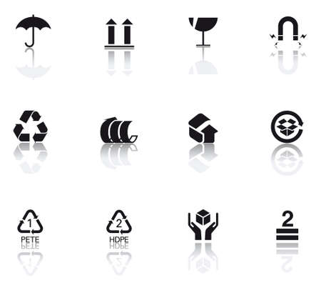 packaging icon: set icons featuring the principal international symbols of merchandise handle